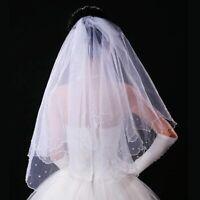 Schleier Brautschleier 2 Lagen Weiss o. Ivory 2-lagig Perlen Hochzeit Braut NEU