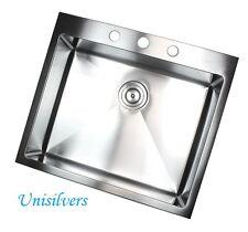 "16Gauge 25""Topmount Drop in Stainless Steel Single Bowl Kitchen Sink 10"" Deep"