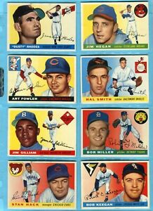 1955 Topps Partial Set Lot of 142 Different Baseball Cards EX