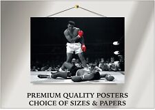 Muhammad Ali vs. Sonny Liston Boxing Large Poster Art Print Gift A0 A1 A2 A3 A4