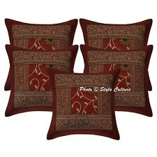 Handmade Polydupion Embroidered Sofa Pillow Cover Maroon Floral Cushion Cover