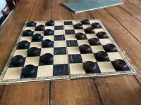 Vintage 1940's Bakelite Black & Brown Draughts Set with Board Traditional Game