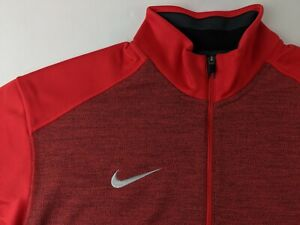 NEW Nike Coaches 1/2 Zip Top Men L University Red Pullover Dri Fit Long Sleeve