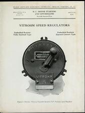 Very Rare Orig 1930 Ward Leonard Dealer Sheet Pages: Vitrohm Speed Regulators