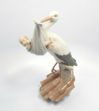 Lladro Figurine #6228 Special Gift, Stork Carrying Baby in Blanket, with box