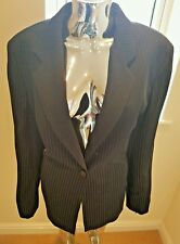 Used Ladies Viyella 100% Wool Stripped Jacket In Navy Size 18