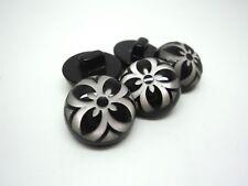5pcs RARE BLACK FLOWER SHANKED RESIN BUTTONS 17mm