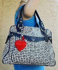 COACH PENELOPE black white OP ART coated canvas bowler SATCHEL purse 13147 tote