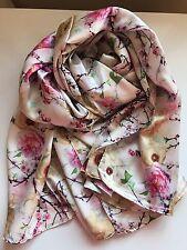 100% Silk Floral Pattern Printed Woman Scarf Shawl