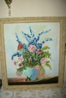 VINTAGE FLORAL OIL PAINTING POPPIES ORNATE FRENCH PROVENCAL FRAME MID CENTURY