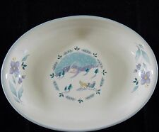 "Pfaltzgraff April 8"" Oval Dish Purple Flowers Horse Sleigh Snow Trees VGC"