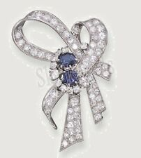 2.17ct NATURAL ROUND DIAMOND BLUE SAPPHIRE GEMSTONE 14K SOLID WHITE GOLD BROOCH