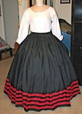 Civil War Dress~Lovely Victorian Style 100% Cotton Jett Black Skirt~Red Lace