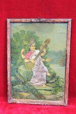 Old Vintage Ravi Varma Saraswati Cotton Work Print with Frame Collectible PO-18