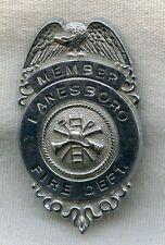 1950s Lanesboro, Massachusetts Fire Department Member Badge