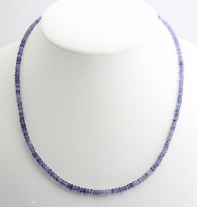 Iolite (Water Sapphire) Necklace Precious Stone Faceted Blue Rondelle Top
