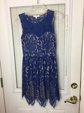 Love Fire Women's Blue Lace Dress with Tan Underlay Mid-thigh Length Size Small