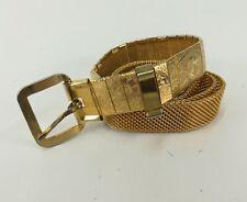 Metal Mesh Belt Flower Gold Tone 28 30
