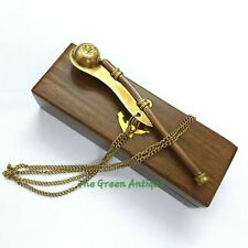 Brass Whistle Keychain With Wooden Box Collectible Gift