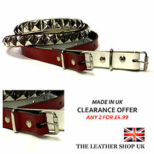 20mm Unisex Red & White Pyramid Silver Studded Real Leather Belt Made In UK