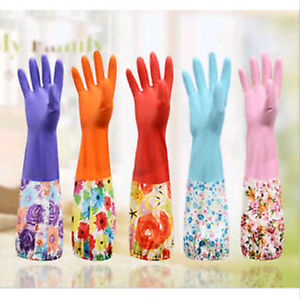 Thick Natural Rubber Household Kitchen Long Gloves Dish Wash Cleaning Glove
