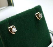 18 Carat Yellow Gold Heart Shaped Diamond Earrings.