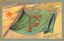 ST. PATRICK'S DAY HOLIDAY IRELAND FLAG & SUNSET EMBOSSED TUCK'S POSTCARD 444