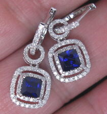 SOLID 14K WHITE GOLD NATURAL NICE BlUE SAPPHIRE DIAMOND DROP EARRING