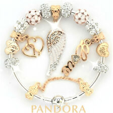 Authentic Pandora Charm Bracelet With Gold Angel Wing Mom European Charms New.