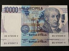 LOTTO DI 2 BANCONOTE  LIRE 10000 VOLTA CONSECUTIVE    FDS