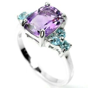 Ring Genuine Purple Amethyst and Blue Topaz Sterling Silver Size N 1/2  US 7