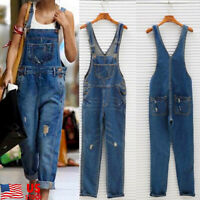US Womens Ripped Dungarees Jeans Overalls Casual Demin Jumpsuits Rompers Pants