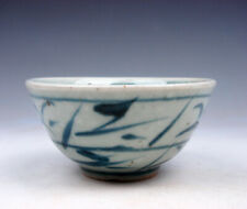 Antique Blue&White Glazed Porcelain Bamboo Leaves Hand Painted Cup #03202011