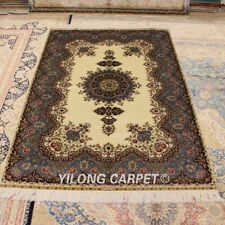 Yilong 4'x6' Floral Silk Area Rugs Hand Knotted Carpets Medallion Handmade Q28A