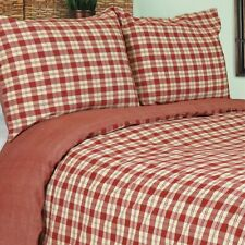 Vintage House Country  Buffalo Plaid Mini Comforter Duvet & Shams Set Queen Red