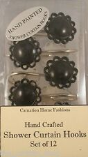 Color Filigree Resin Hooks Set of 12 for Bathroom Shower Curtain Carnation HF