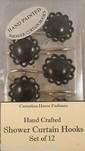 Color Filigree Resin Hooks Set of 12 for Bathroom Shower Curtain Carnation HF