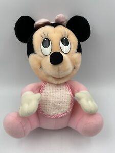 Vintage Disney Hasbro Softies Baby Minnie Mouse Plush w/ Bib & Hair Bow1984 READ