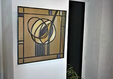 Mackintosh style uk handmade stained glass effect mirror square Rose 30x30cm