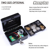Money Bank Cash Deposit BOX Steel Tin Security Safe Petty Key Lockable Metal