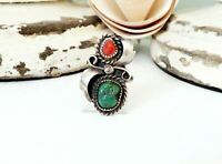 Navajo Sterling Silver Turquoise Coral Native American Handmade Old Size 7 Ring