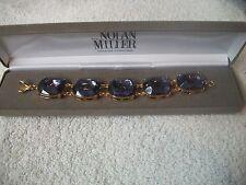 NOLAN MILLER Bracelet STUNNING Big & Bold Amethyst Crystal GP Links WOW Free Shp