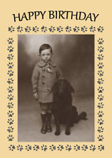 FLAT COATED RETRIEVER BOY AND DOG  BIRTHDAY GREETINGS NOTE CARD