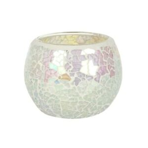 White Iridescent Crackle Glass Candle Holder Height 6.5 cm