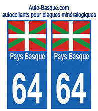 Pays Basque 64  plaque immatriculation auto stickers autocollant