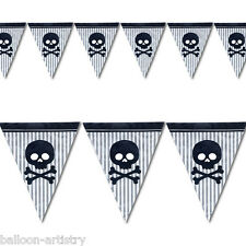 12ft PIRATE AHOY Birthday Party Skull Plastic Flag Banner Bunting Decoration