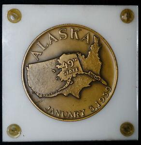 1959 Medallic Art Co 49th State Alaska Commemorative Bronze Medal 2 1/2