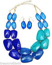 Beaded Sea Blue Ombre Gradiated Faceted Pebble Bead Statement Necklace