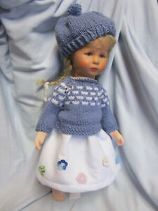 FILZROCK Häkelblumen Pullover-Mütze  -paßt KK-Puppe 47 UVP 29,90 Euro