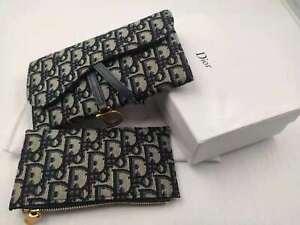 Dior Oblique Printed Blue Vintage Saddle Bag Big Bag Small Bag